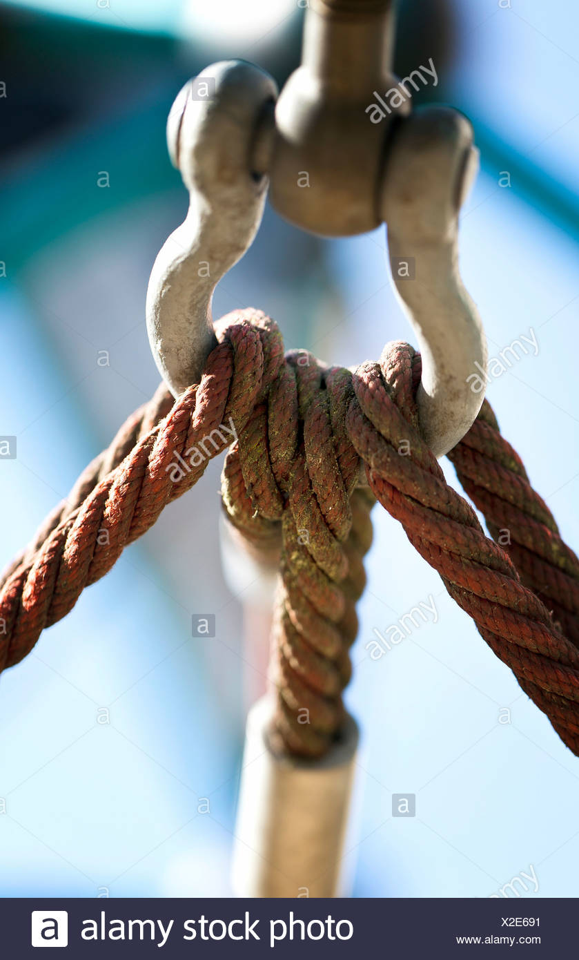 Snap hook with ropes - Stock Image