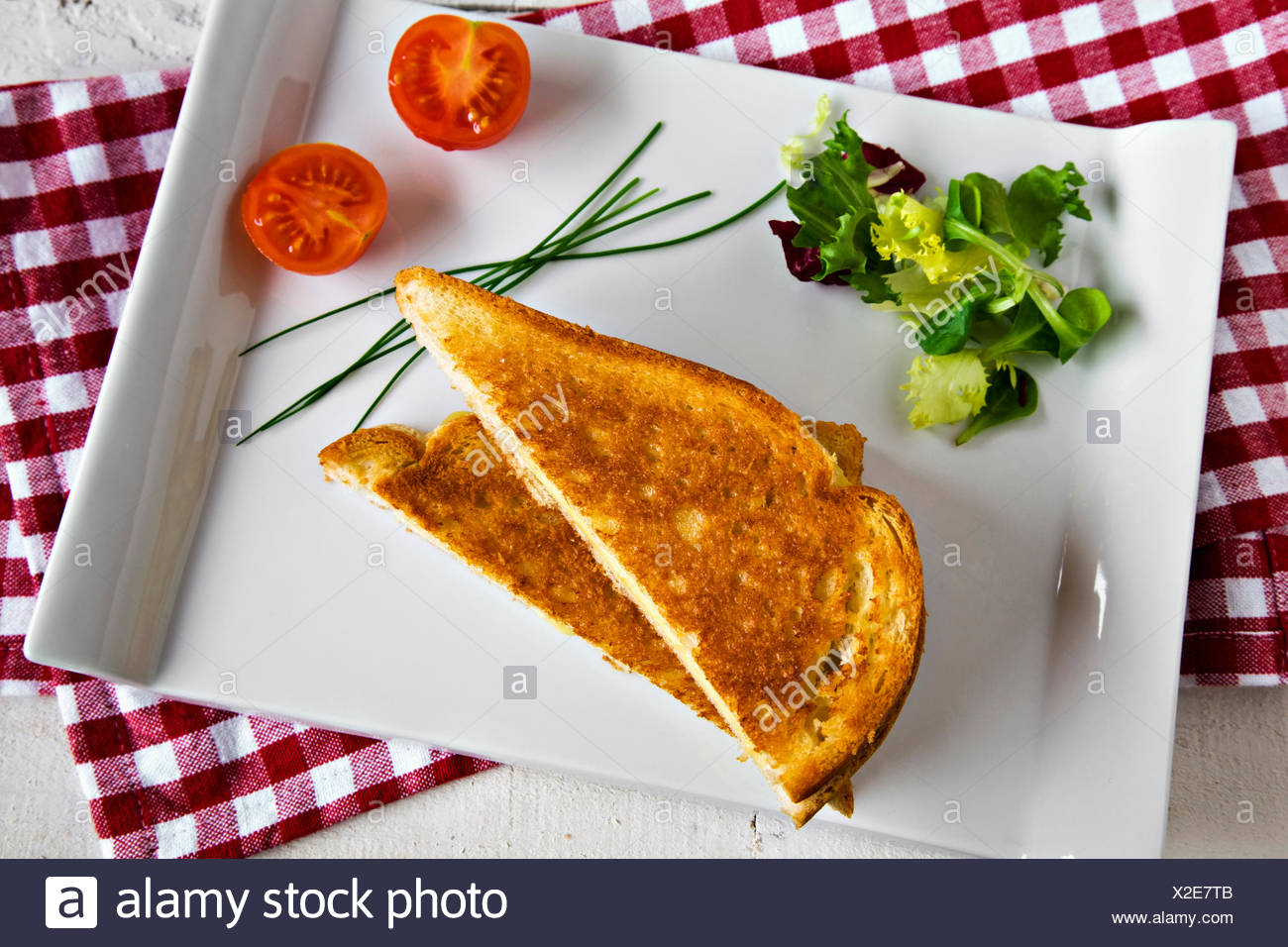 Toasted cheese sandwich - Stock Image