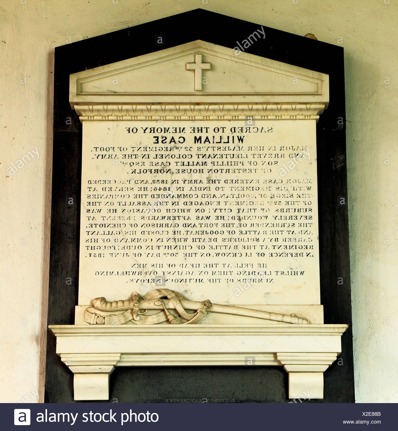 Lucknow, Indian Mutiny, 1857. memorial to William Case, 32nd Regiment of Foot, Brevet Lieutenant Colonel, British Army, Sepoy Mutiny, Dunton, Norfolk - Stock Image