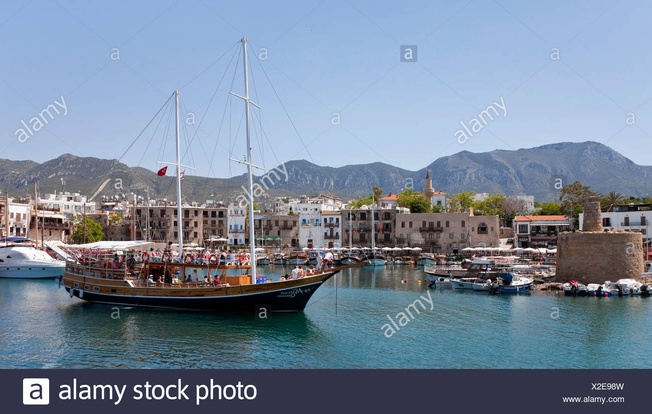 A sailing ship in the port of Kyrenia, also known as Girne, Northern Cyprus, Cyprus, Europe Stock Photo