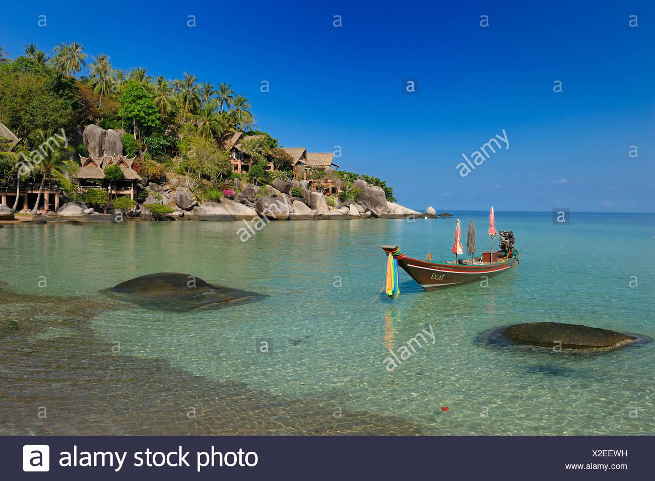 Koh Tao, Cabana Hotel, Sai Ree, Beach, Koh Tao, Thailand, Asia, Longtail Boat, boat Stock Photo
