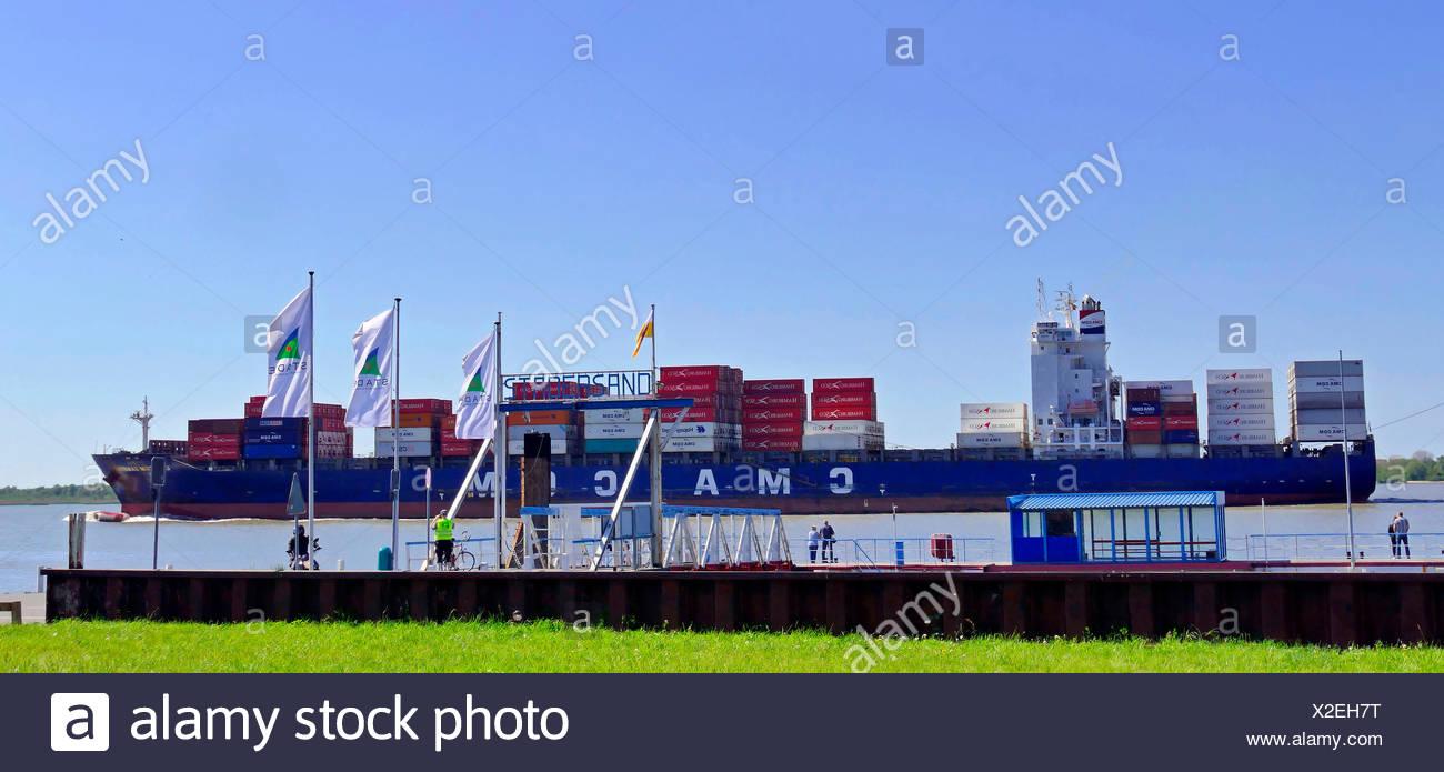 container ship CMA CGM Sambhar on Lower Elbe near Stadersand, Germany, Lower Saxony, Stade Stock Photo