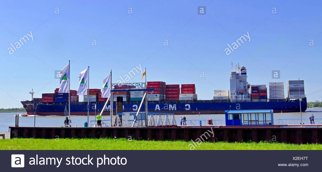 Containerfrachter CMA CGM Sambhar auf der Unterelbe bei Stadersand, Deutschland, Niedersachsen, Stade | container ship CMA CGM S Stock Photo