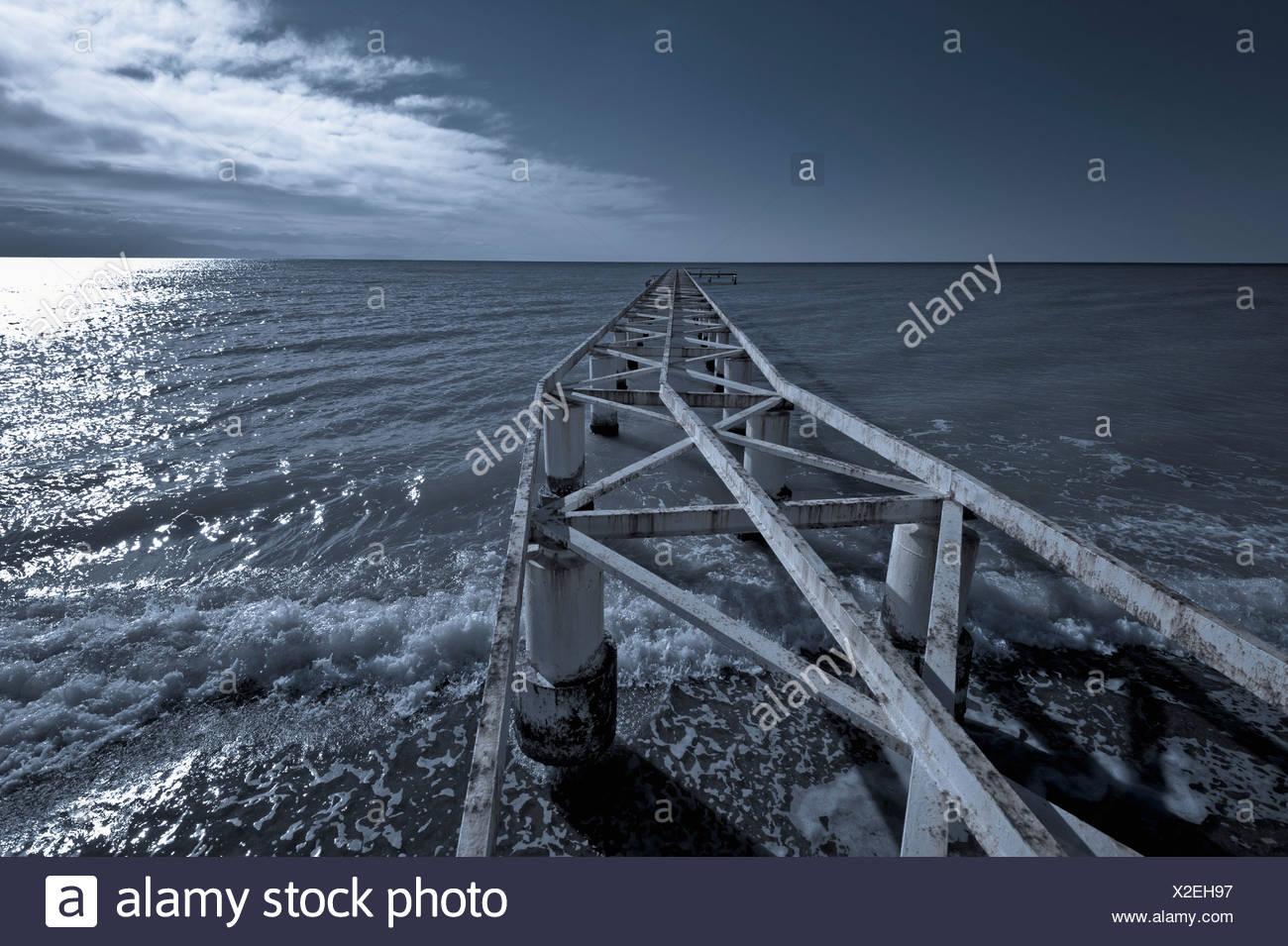 Turkey, Belek, View of rusty boat landing stage near sea - Stock Image