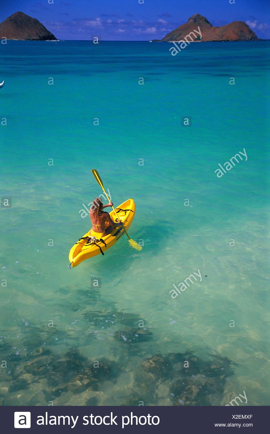 Hawaii, Oahu, Lanikai, View From Behind Woman Kayak To