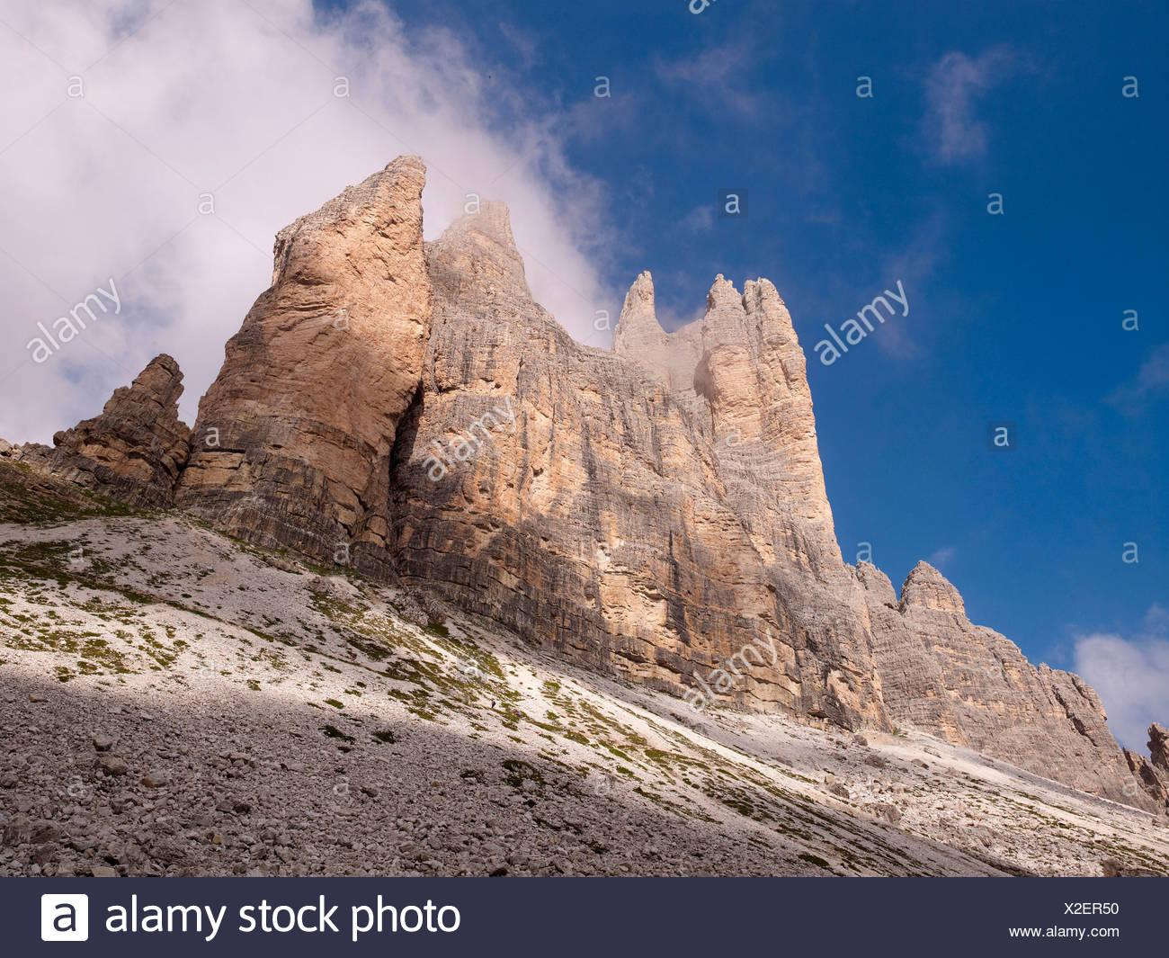 Tre Cime di Lavaredo, Dolomiti di Sesto National Park, Sexten Dolomites, Hochpustertal, High Puster Valley, South Tyrol, Italy - Stock Image