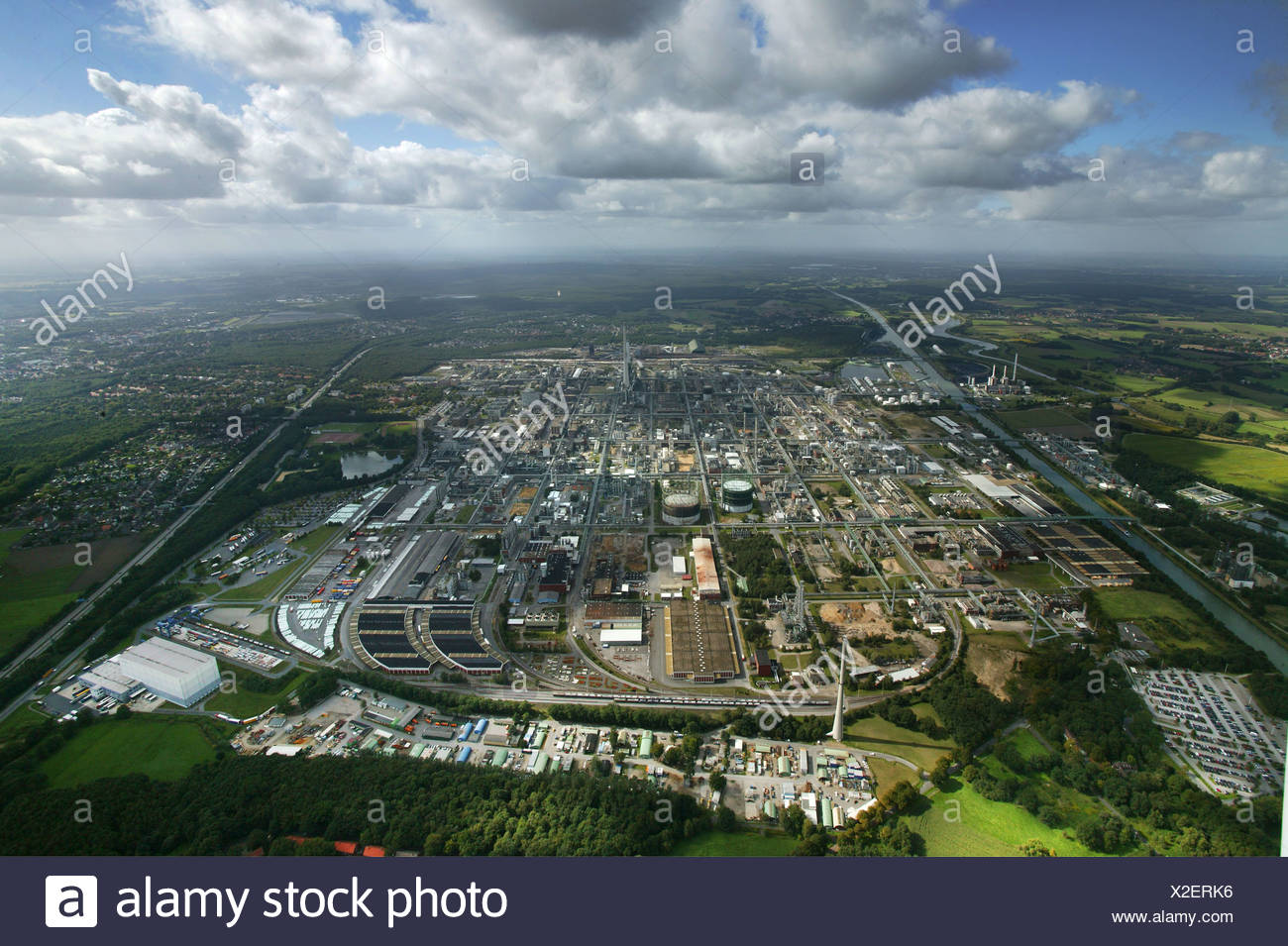 Aerial photograph, Degussa, EVONIK, chemical works, Chemiepark Marl, power stations, clouds, Ruhr Area, North Rhine-Westphalia, - Stock Image