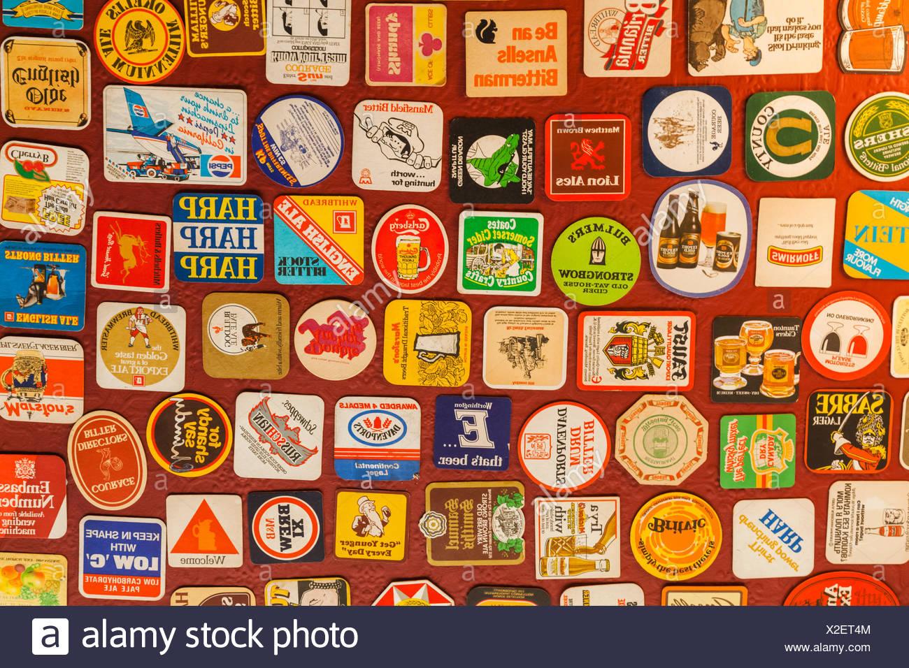 England, London, Pub Beer Mat Decoration Stock Photo