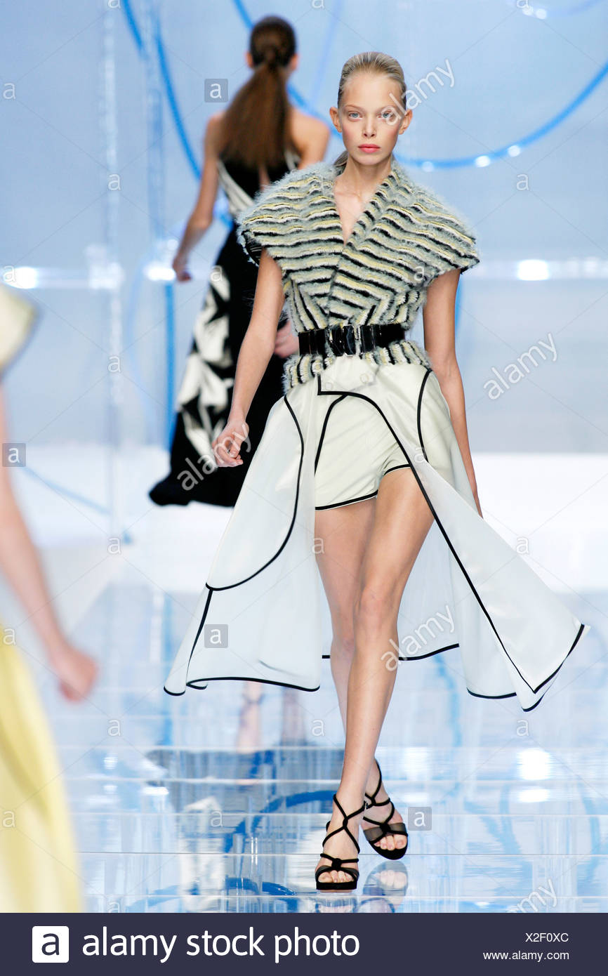 295310af921 Fendi Milan Ready to Wear Spring Summer Blonde female model hair scraped  back wearing a striped