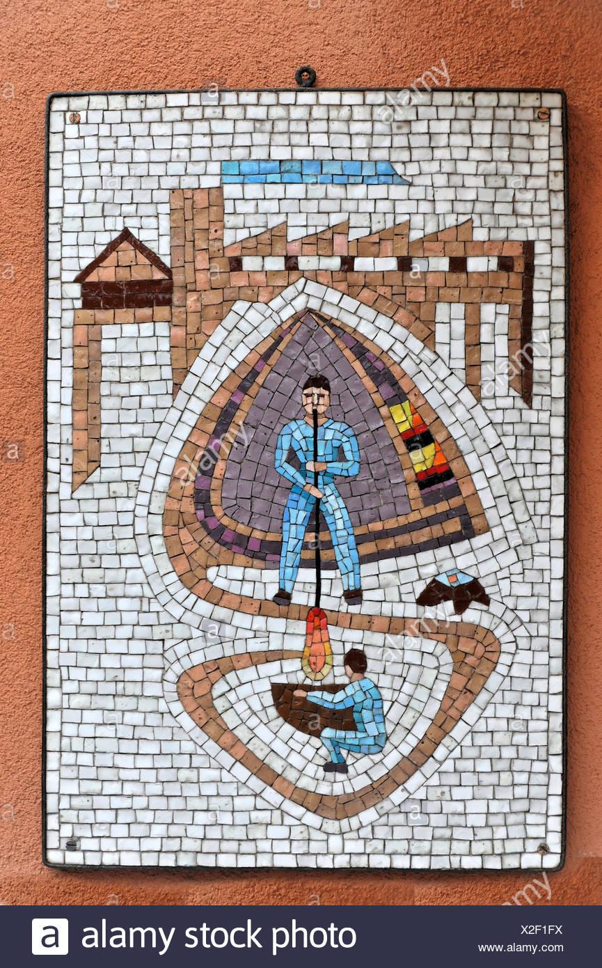 Wall mosaic, Glass blower, Murano, Venice, Veneto, Italy, Europe - Stock Image