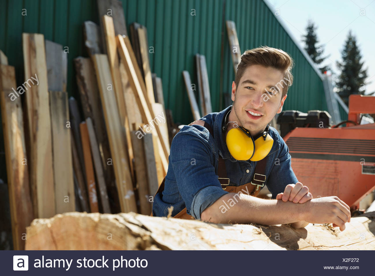 Portrait of woodworker leaning on log Stock Photo