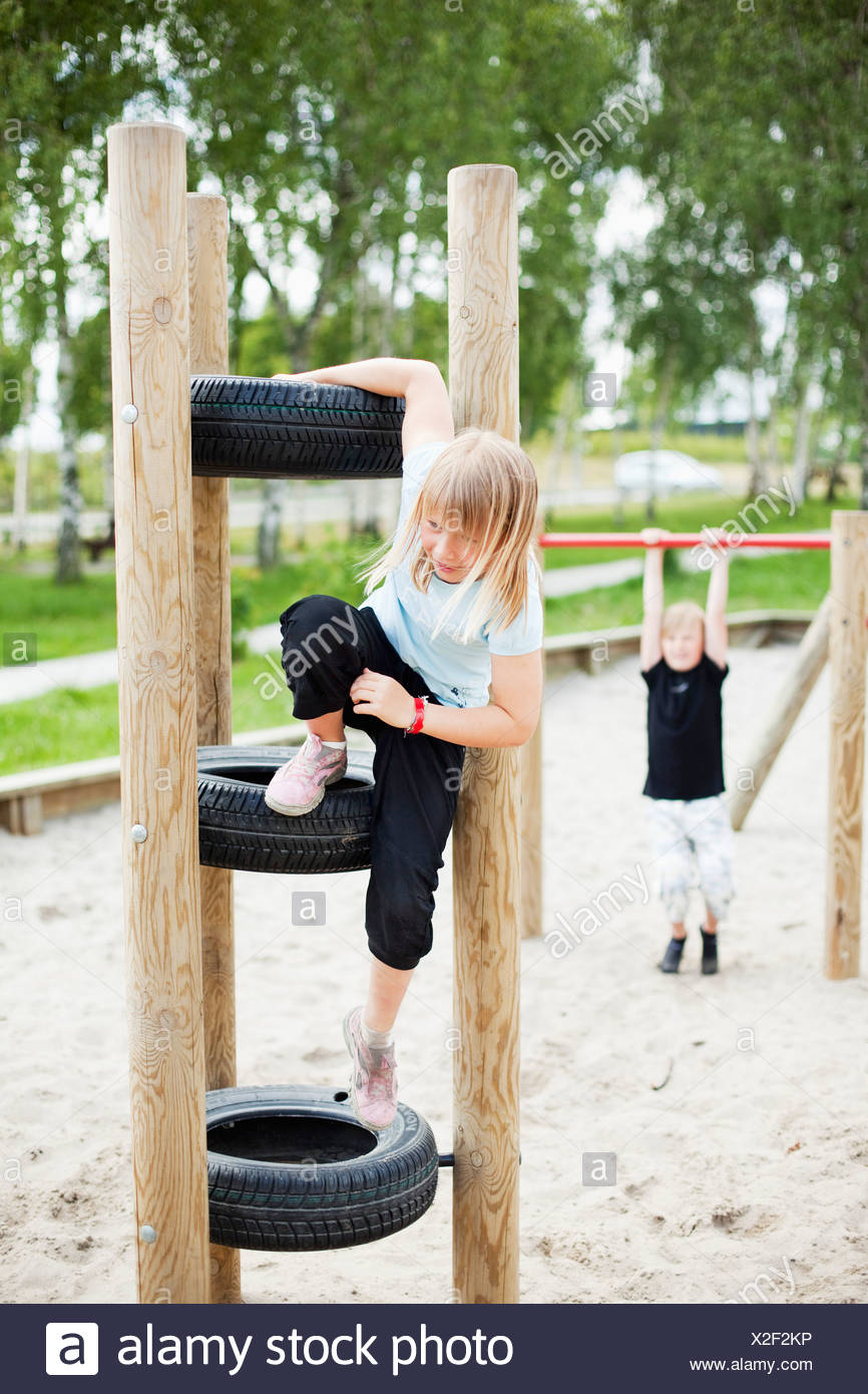 Children playing outside - Stock Image
