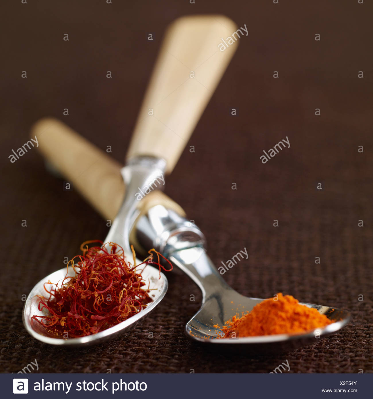 Spoonful of saffron threads and spoonful of saffron powder - Stock Image