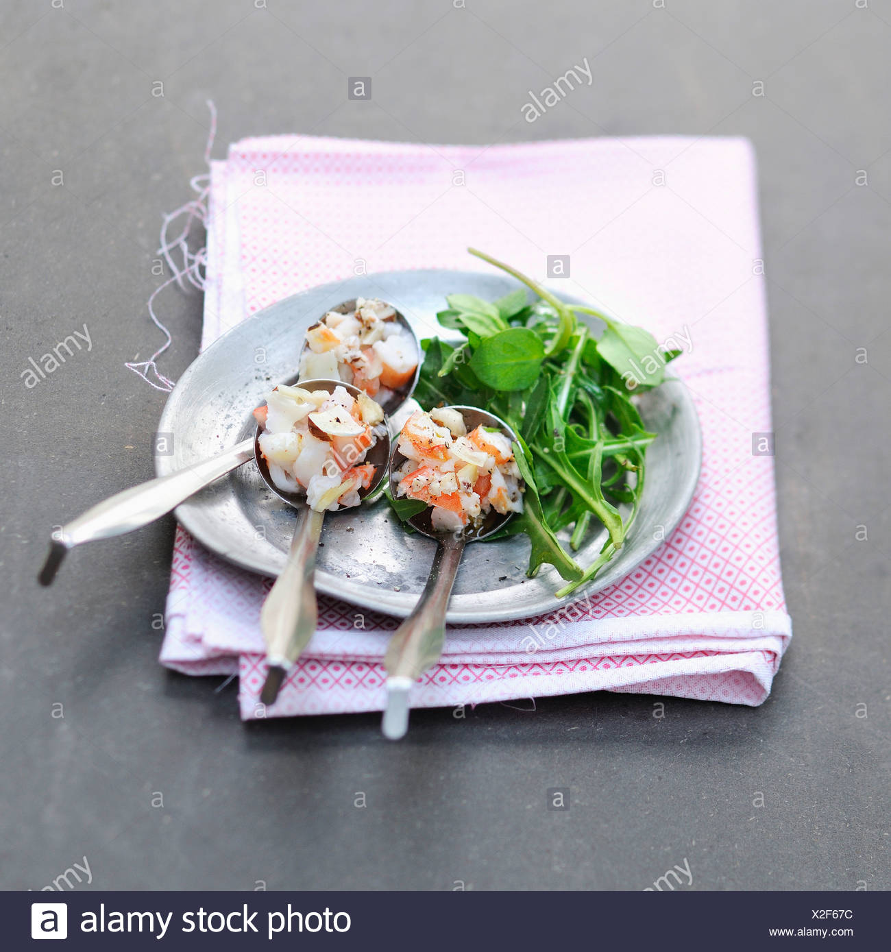 Spoonfuls of Dublin Bay prawn tartare - Stock Image