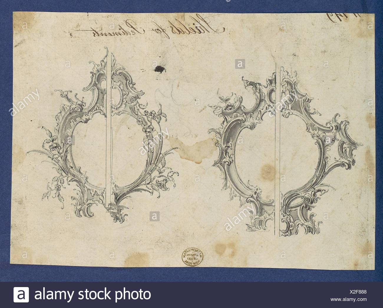 Shields for Pediments, in Chippendale Drawings, Vol. I. Artist: Thomas Chippendale (British, baptised Otley, West Yorkshire 1718-1779 London); Date: - Stock Image