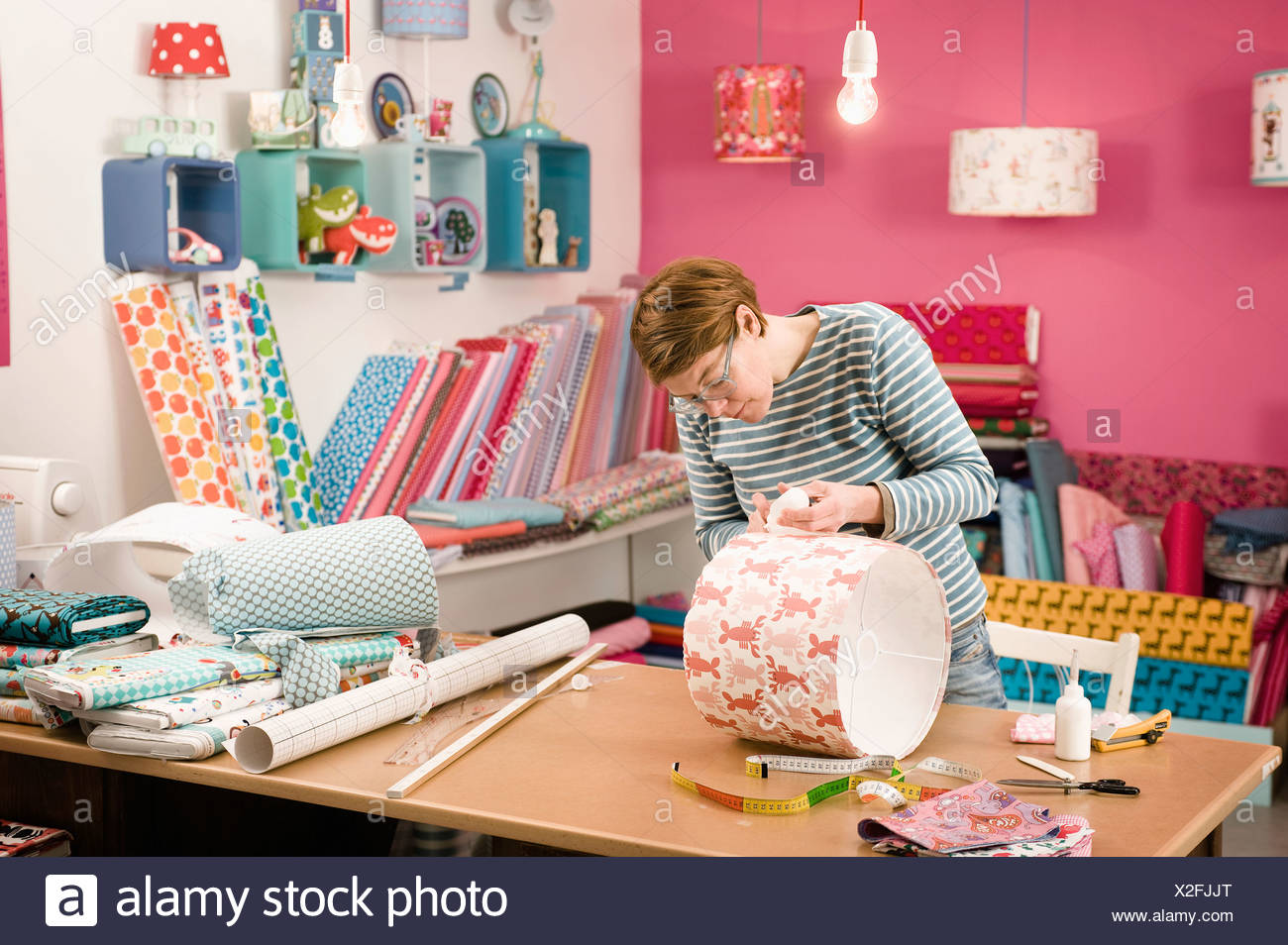 Making A Custom Lampshade, Munich, Bavaria, Germany, Europe - Stock Image