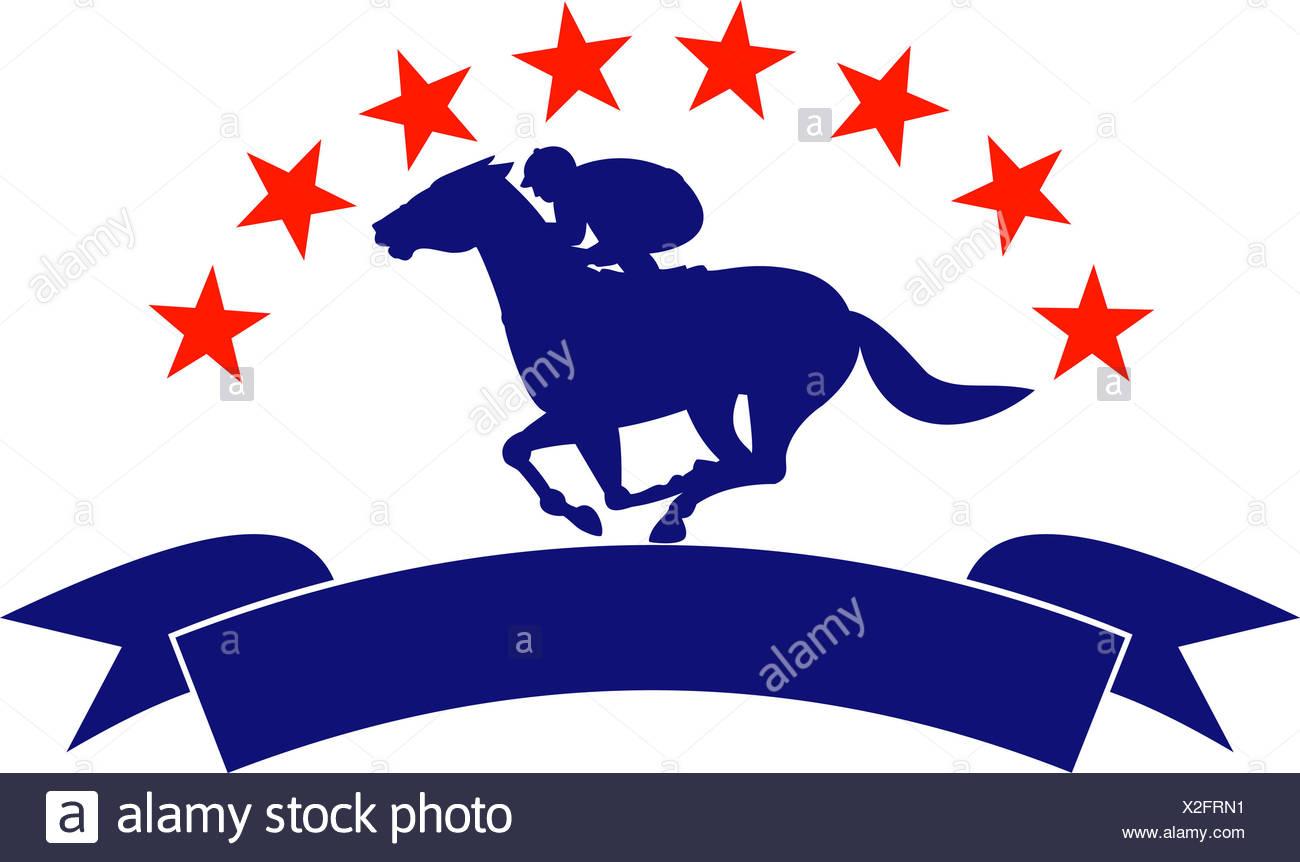 Horse Racing Illustration Rider Equestrian Jockey Retro Thoroughbred Race