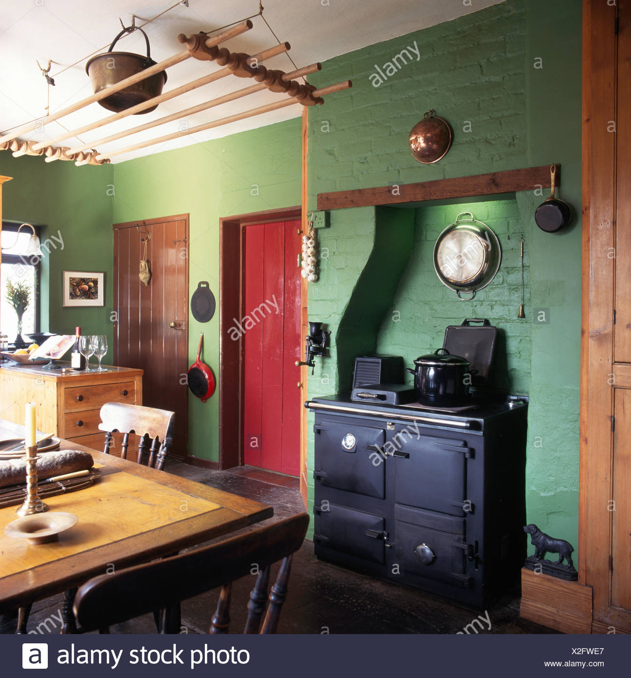 Black Range Oven In Green Country Kitchen With A Vintage ...