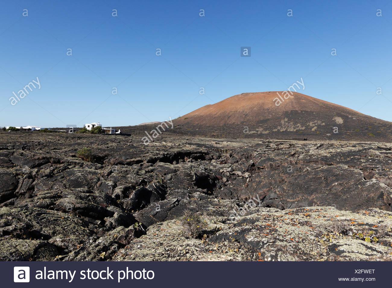 Lava field in Masdache, Montaña de Juan Bello volcano, La Geria, Lanzarote, Canary Islands, Spain, Europe - Stock Image