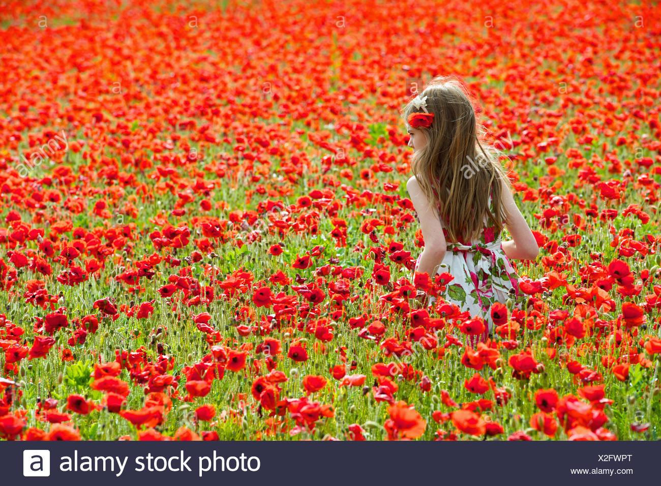 Girl walking in field of flowers - Stock Image