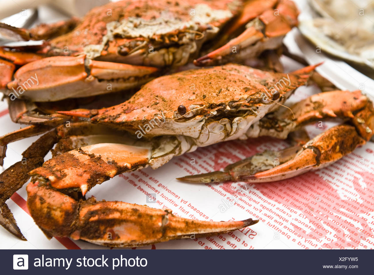 Maryland, Chesapeake Bay, St. Michaels,  Cooked Crabs. - Stock Image