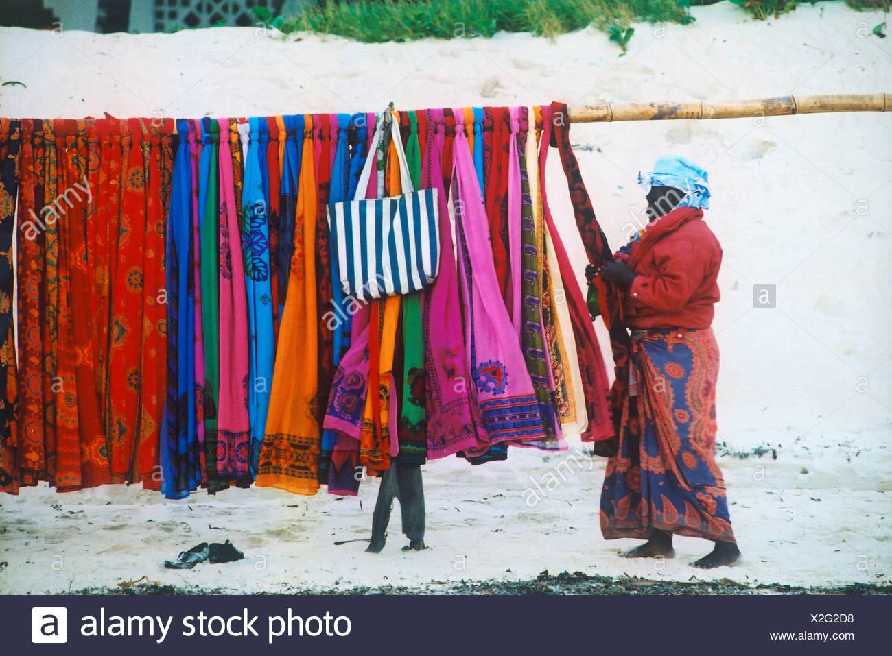 Saleslady on Beach Kenya Africa - Stock Image