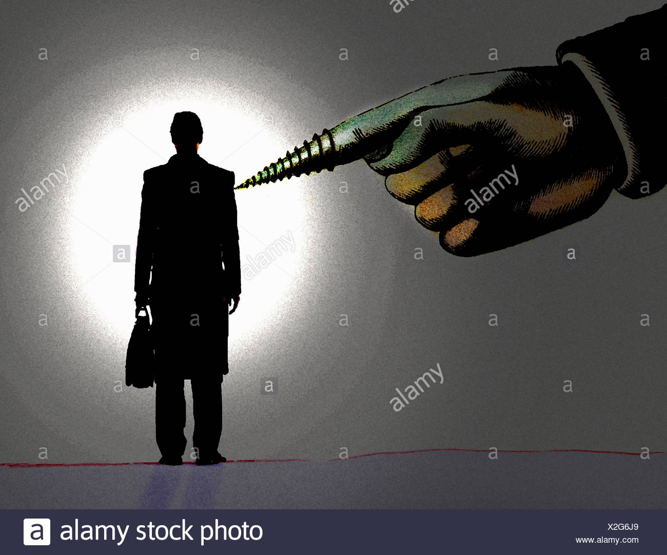 Large hand with screw finger pointing to businessman - Stock Image