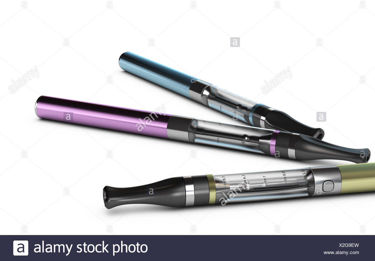 Three ecigarettes over white background with e-liquid inside the container. - Stock Image