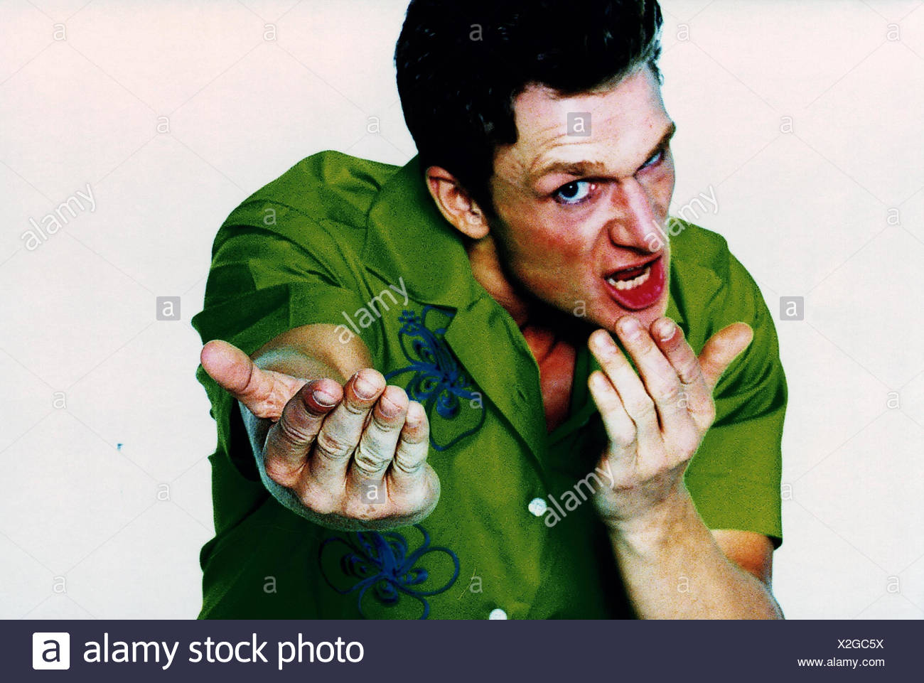 Man, fury, gesture, request, portrait, studio, cut out, emotion, fury, provocation, aggressively, cantankerous, fight, readiness for violence, provoke, challenge, challenging, aggression, aggressively, aggressiveness, angers, nastily, fury, furiously, rag Stock Photo