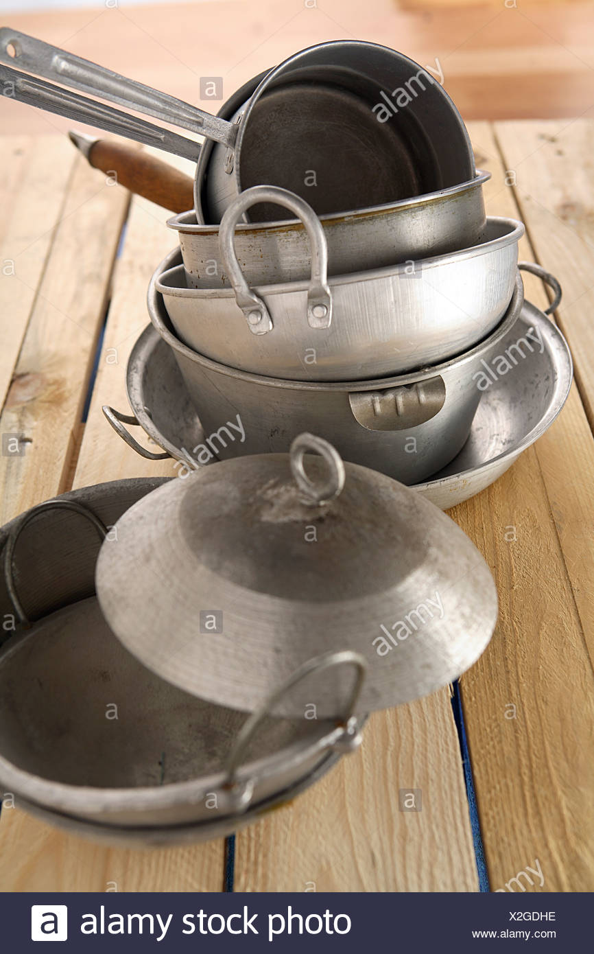 Cooking pots and pans - Stock Image