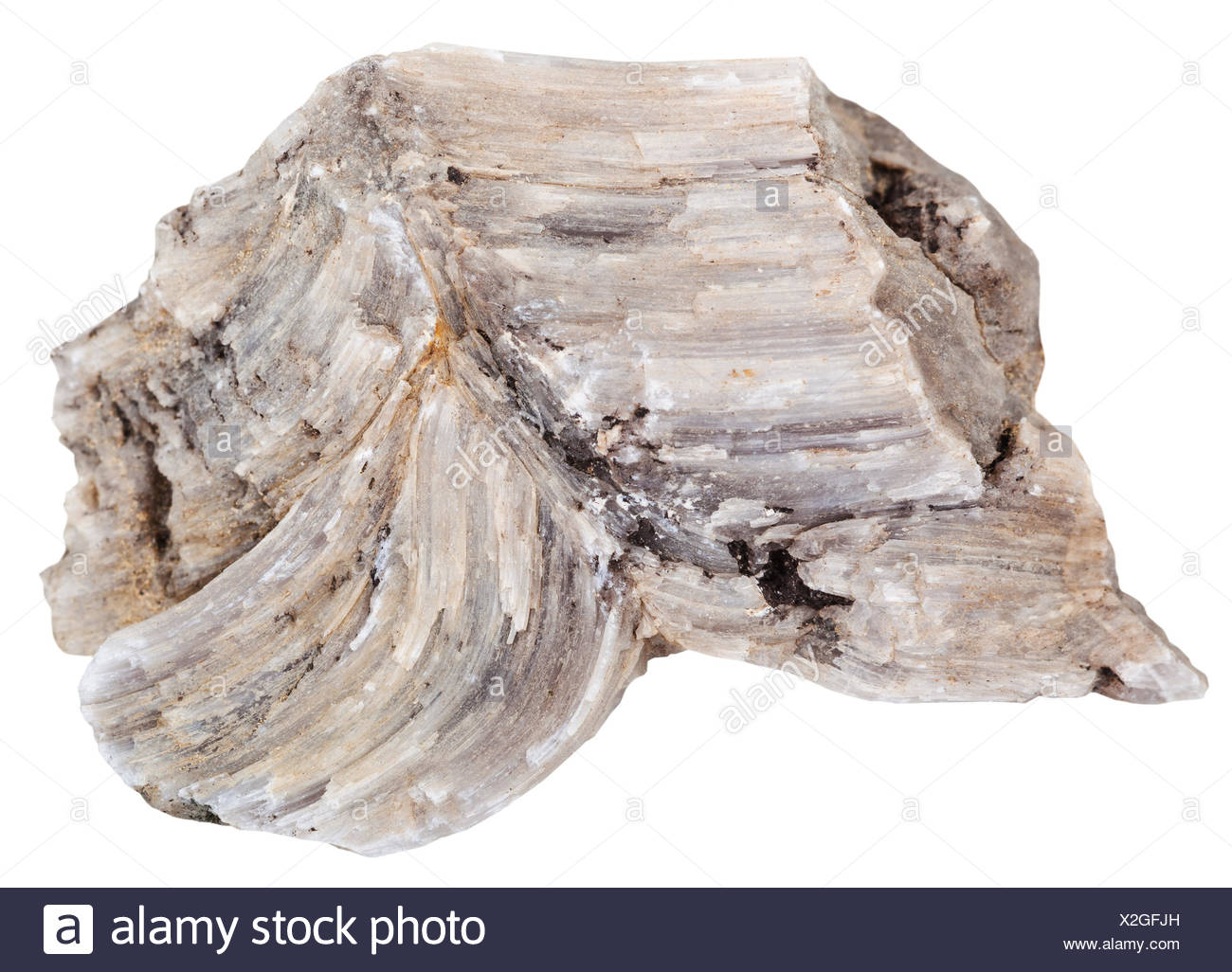 piece of raw Baryte (barite) rock isolated - Stock Image