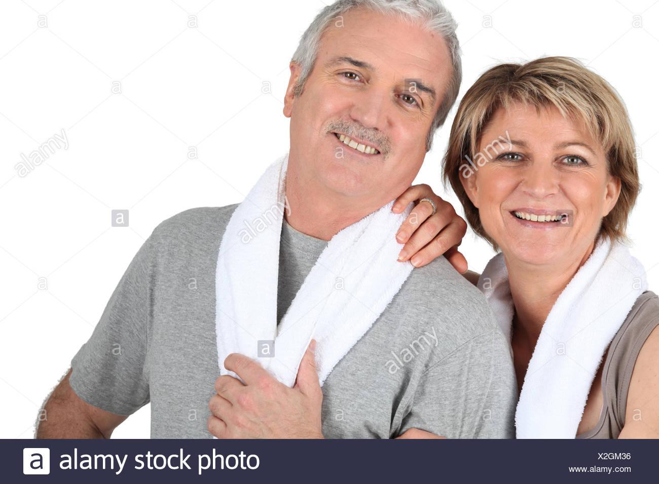 cool, center, burning, calories, ardour, adherent, couple, pair, woman, lose, - Stock Image