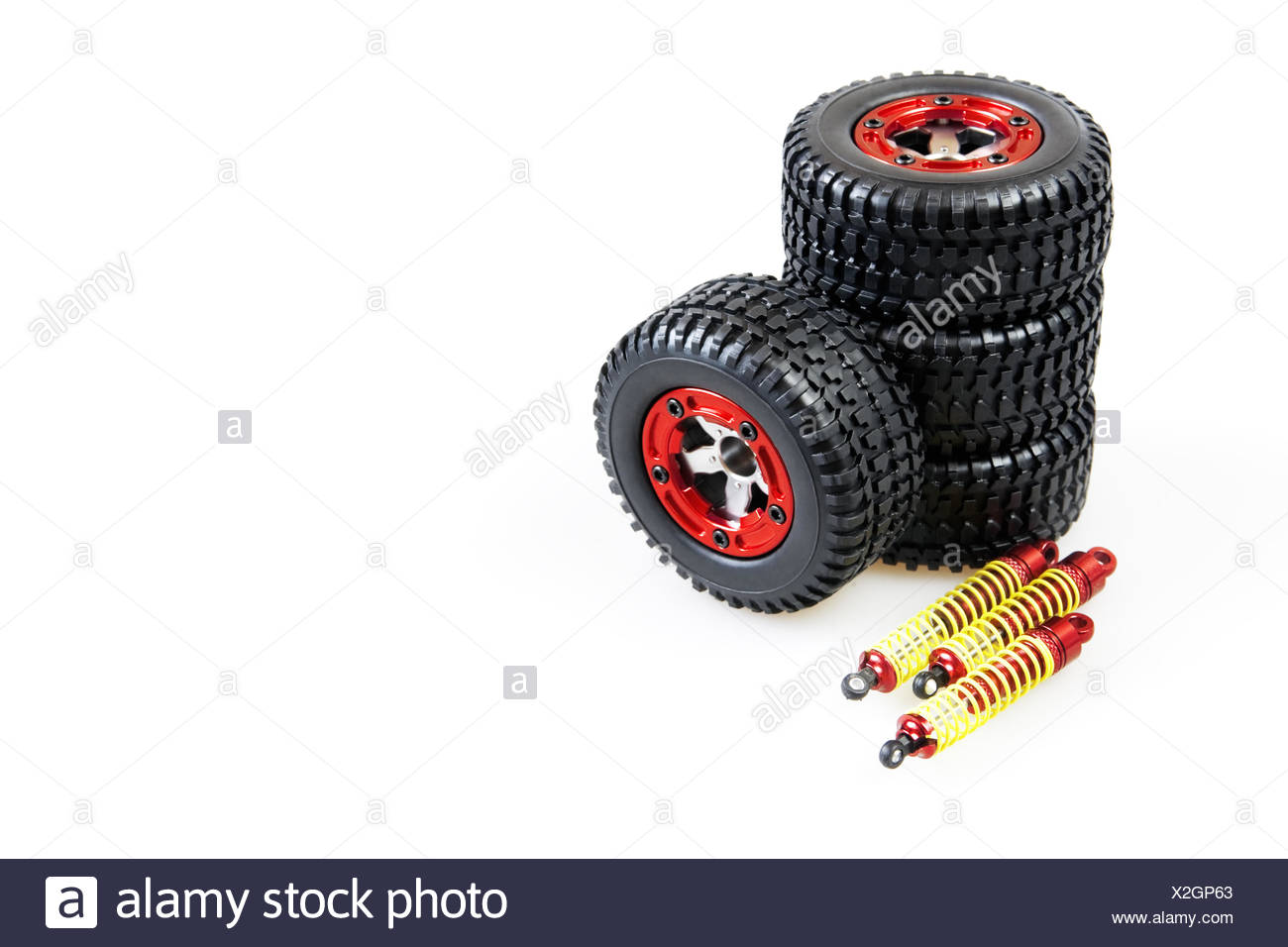shock-absorbers and wheels of rc car - Stock Image