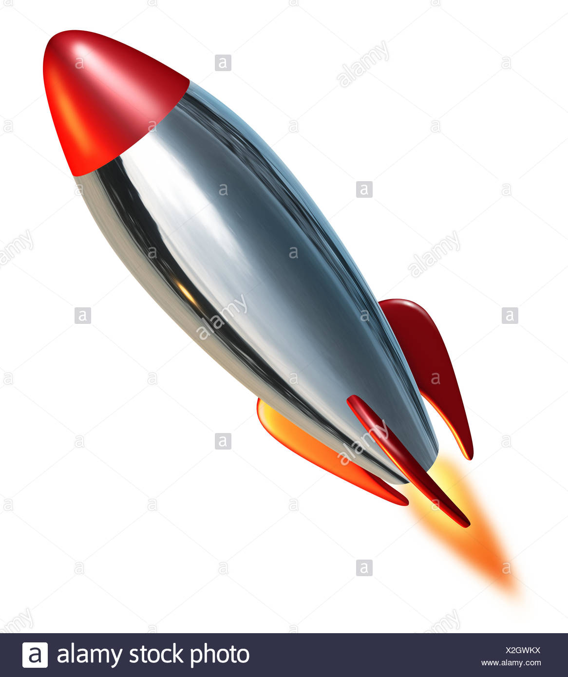 space flight vehicle flame flames upward thrust rocket combustion missile exploration blast off spaceflight rocketry arm weapon - Stock Image