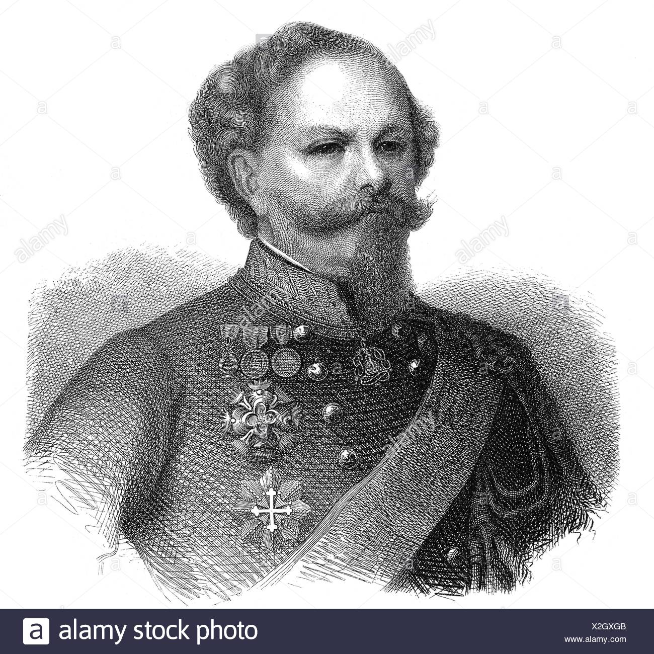 Victor Emmanuel II of Italy, 14.3.1820 - 9.1.1878, King of Italy 1861 - 1878, portrait, wood engraving, 19th century, Additional-Rights-Clearances-NA - Stock Image