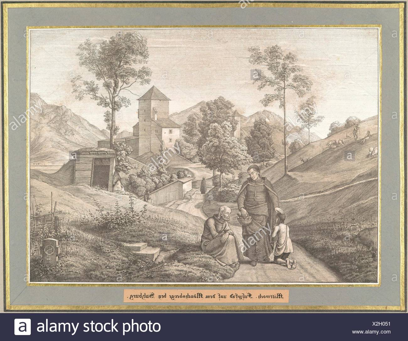 Mittwoch from Sieben Gegenden aus Salzburg und Berchtesgaden Geordnet nach den sieben Tagen der Woche, verbunden durch zwey allegorische Blätter - Stock Image