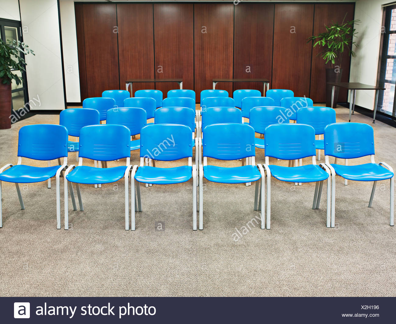 Rows of blue chairs in conference room - Stock Image & Row Chairs In Boardroom Stock Photos u0026 Row Chairs In Boardroom Stock ...