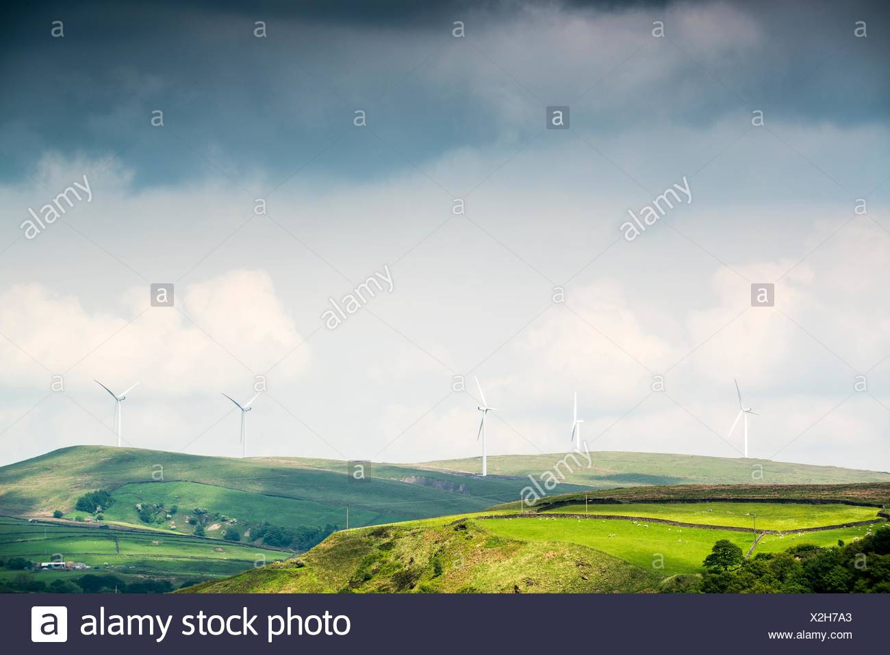 View of wind turbines on moorland hills, UK - Stock Image