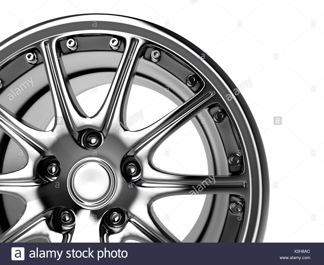 close up rendering part of chrome car rim (3d) - Stock Image
