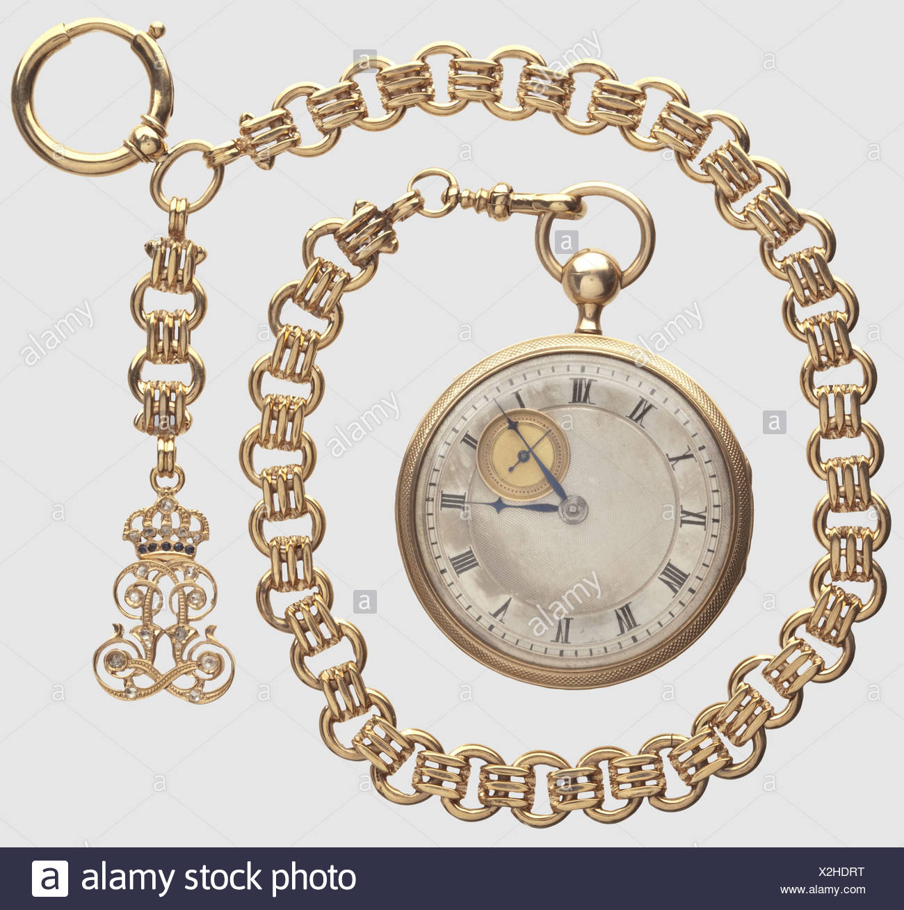 King Maximilian II (1811 - 1864) - King Ludwig II (1845 - 1886), a golden repeater watch with watch ch historic, historical, 19th century, Bavaria, Bavarian, German, Germany, Southern Germany, the South of Germany, Royal, object, objects, stills, clipping, cut out, cut-out, cut-outs, jewellery, jewelry, Additional-Rights-Clearences-NA - Stock Image