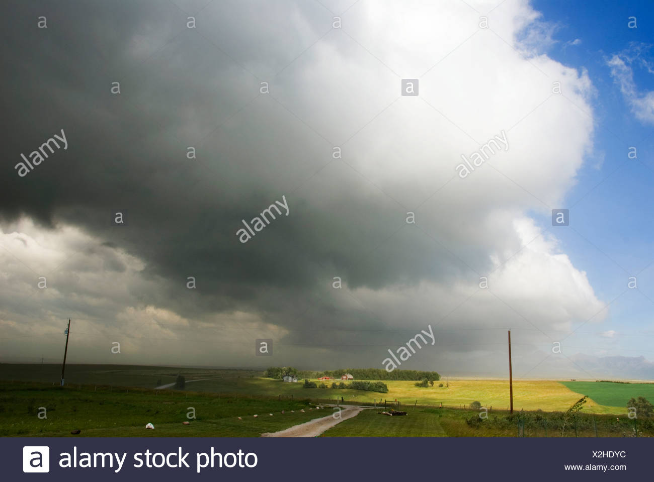Cold Front advancing. A cold front is the boundry along which an advancing mass of cold air displaces a warmer air mass. Because - Stock Image