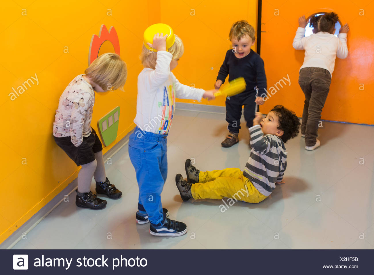Shared playroom of day nursery and day care center, Angoulême, France. - Stock Image