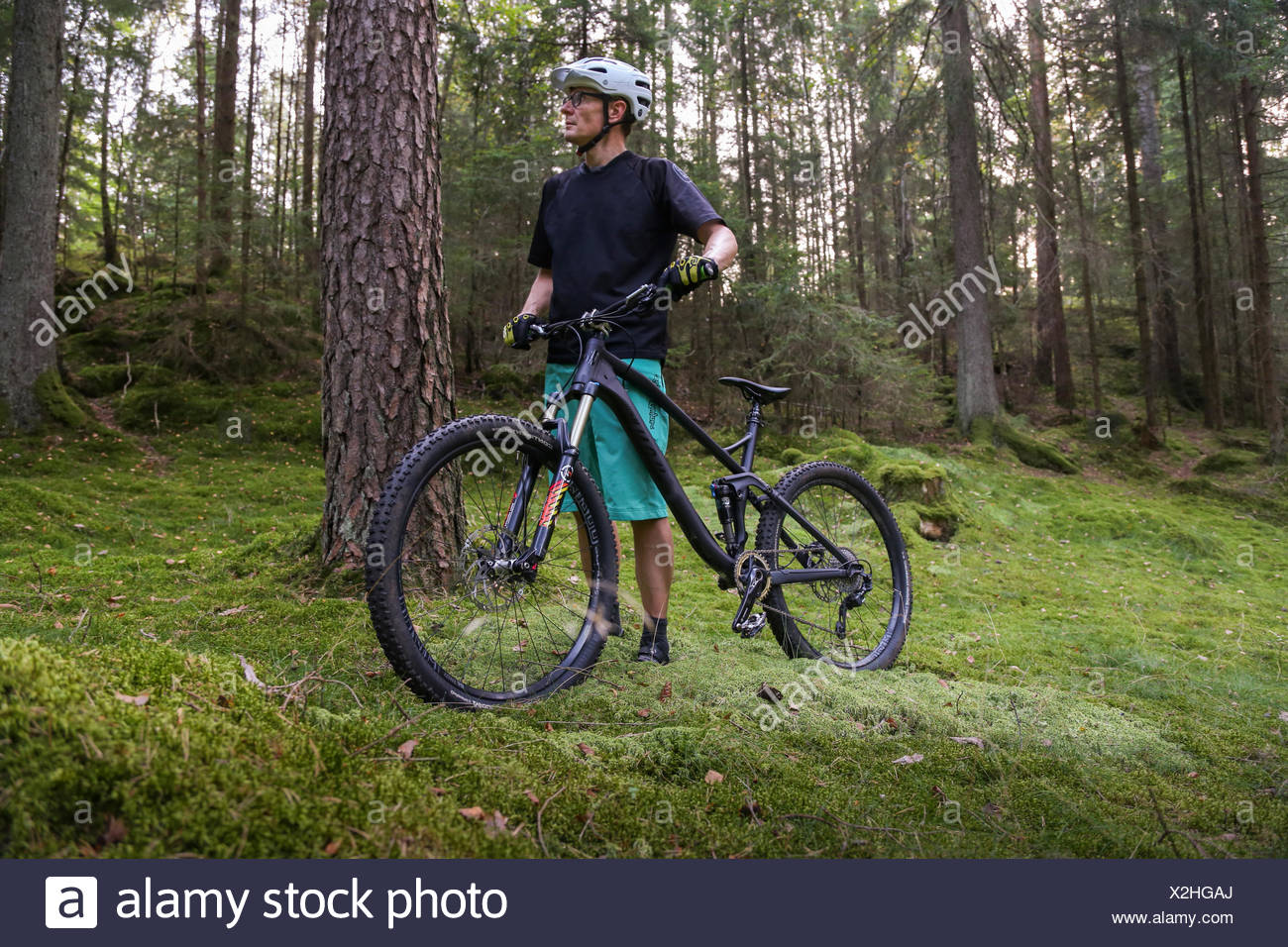 Sweden, Vastergotland, Lerum, Mature man with bicycle in forest - Stock Image