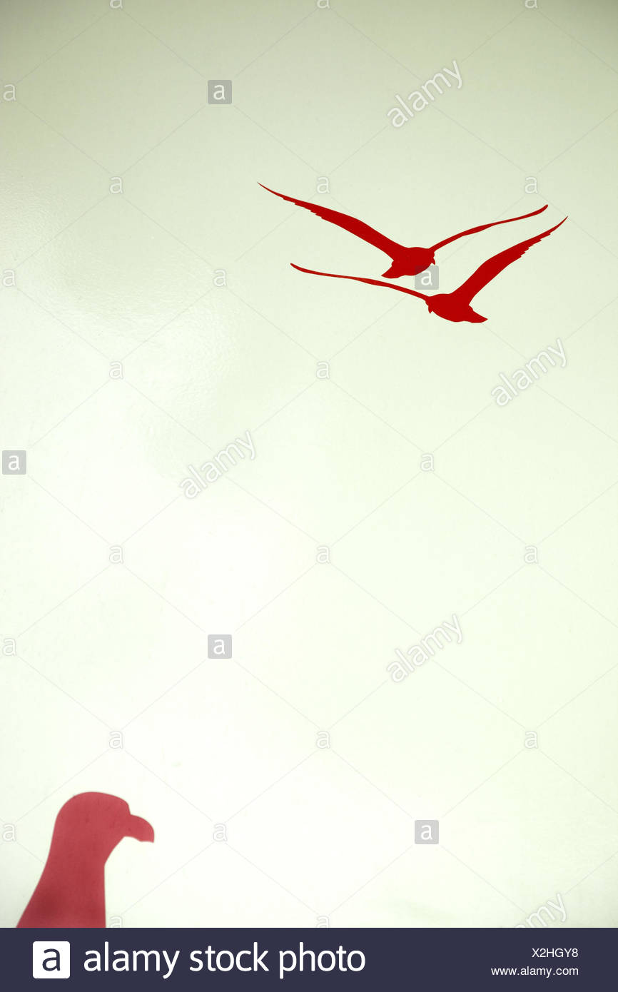 Ship, painted, motifs, birds, red, - Stock Image