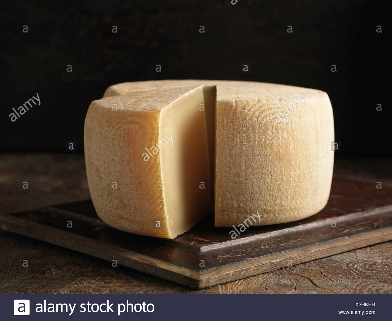 Still life with whole ossau-iraty cheese - Stock Image