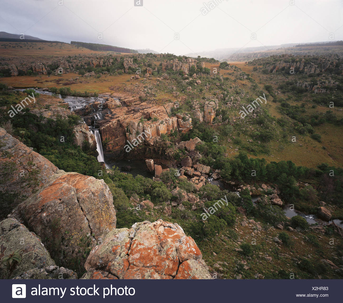 Overhead view of rocky landscape, river and waterfall. Mpumalanga, South Africa, Africa. - Stock Image