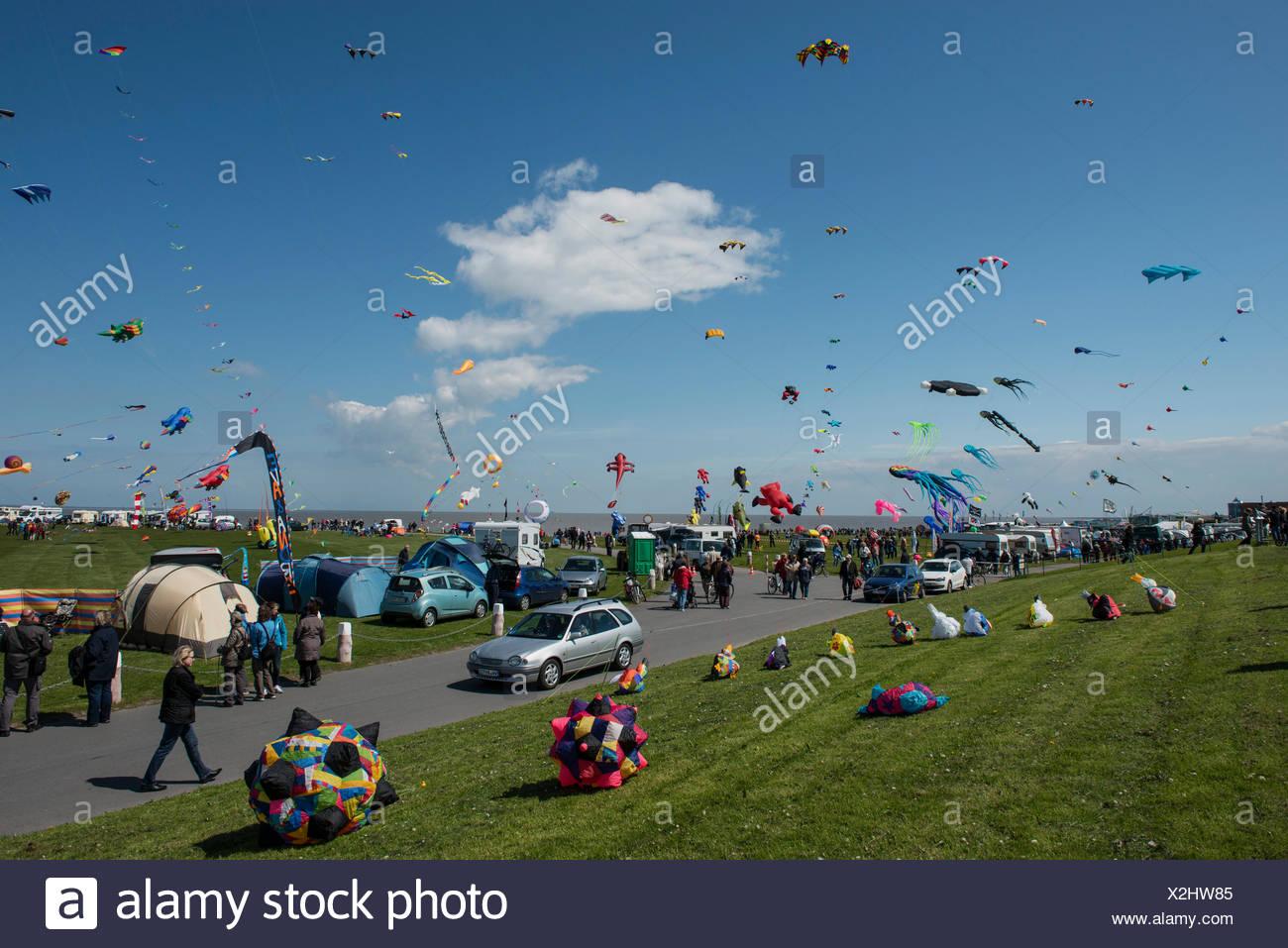International Drachenfest kite festival, Norddeich, East Frisia, Lower Saxony - Stock Image