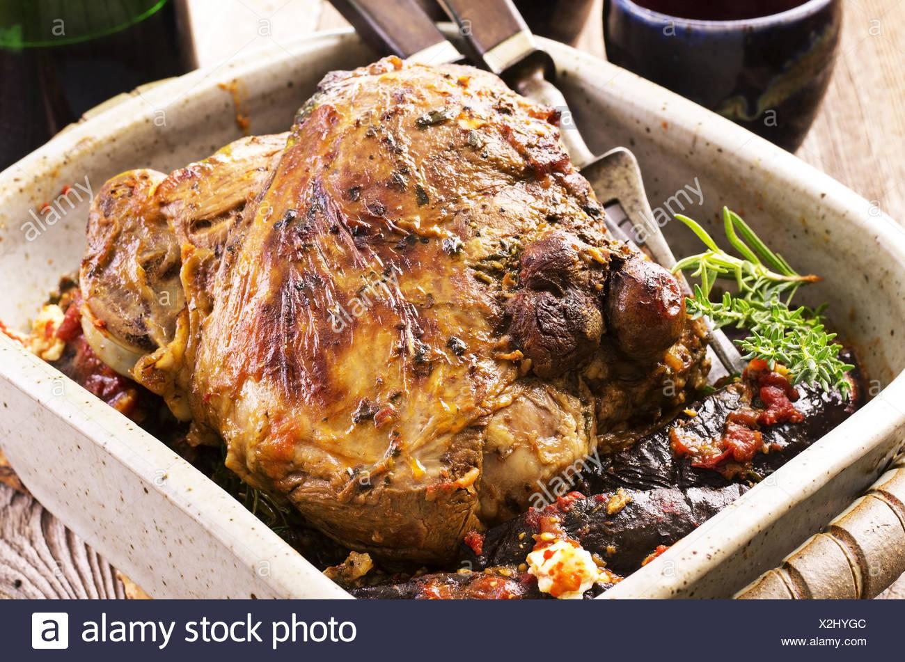 lamb leg roast - Stock Image