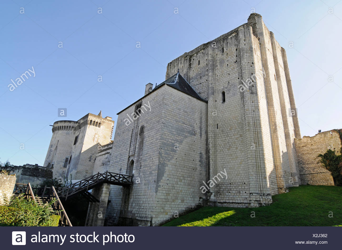 Donjon tower, castle, fortress, Loches, Tours, Indre-et-Loire, Centre region, France, Europe, PublicGround - Stock Image