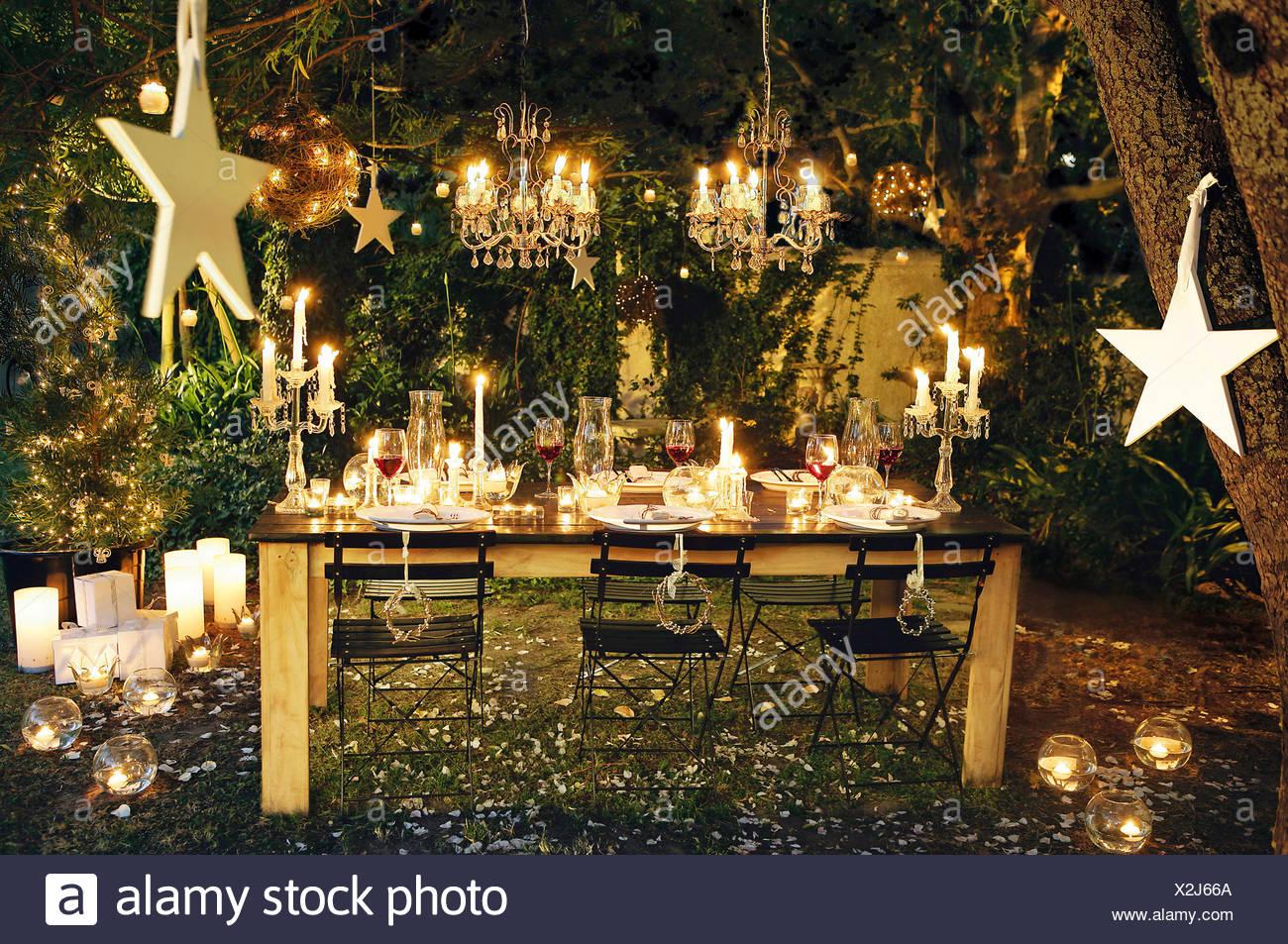 Outdoor Lights Candles Fairy Lights Stock Photos & Outdoor Lights ...